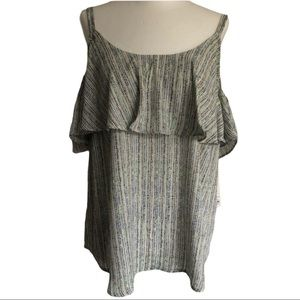Ruffle Cold Shoulder Top Size M
